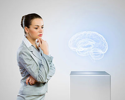Woman Studying Brain